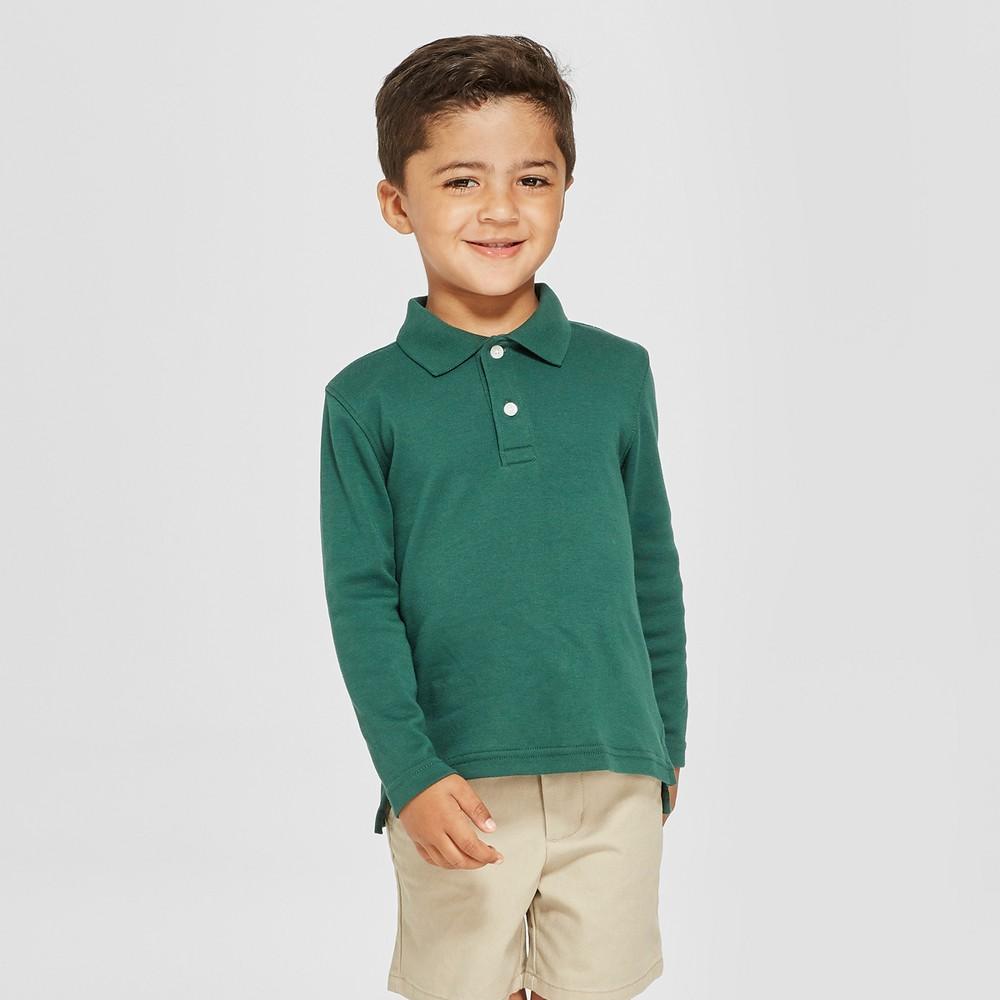 Toddler Boys' Long Sleeve Interlock Polo Shirt - Cat & Jack Green 5T