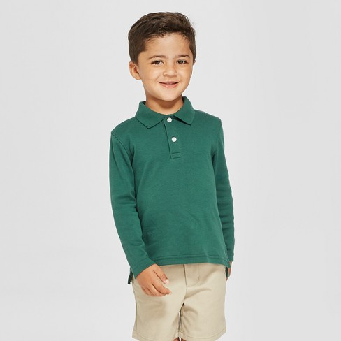 93d634fd9 Toddler Boys  Long Sleeve Interlock Uniform Polo Shirt - Cat   Jack ...