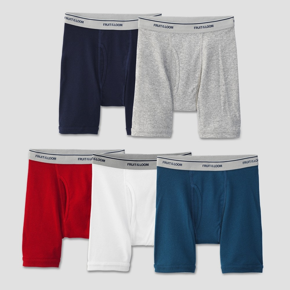 Image of Boys' Fruit Of The Loom 5-pack Boxer Briefs - Assorted Colors, Boy's, Size: Large