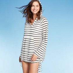 Women's Striped Knit Beach Cover Up Hoodie - Kona Sol™ White/Black