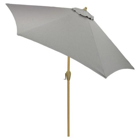9 Round Patio Umbrella Gray Medium Wood Pole Threshold Target