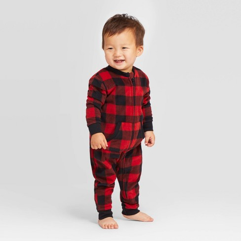 Toddler Holiday Buffalo Check Fleece Union Suit  - Wondershop™ Red - image 1 of 4