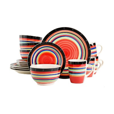 Gibson Casa Stella 16 Piece Reactive Glaze Durable Dinnerware Plates, Bowls, and Mugs, Microwave and Dishwasher Safe, Multicolor