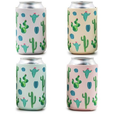 12-Pack Cactus Succulent Theme Can Cooler Sleeves, 12 oz Insulated Beer Koozies Neoprene Holder, 4 Assorted Colors