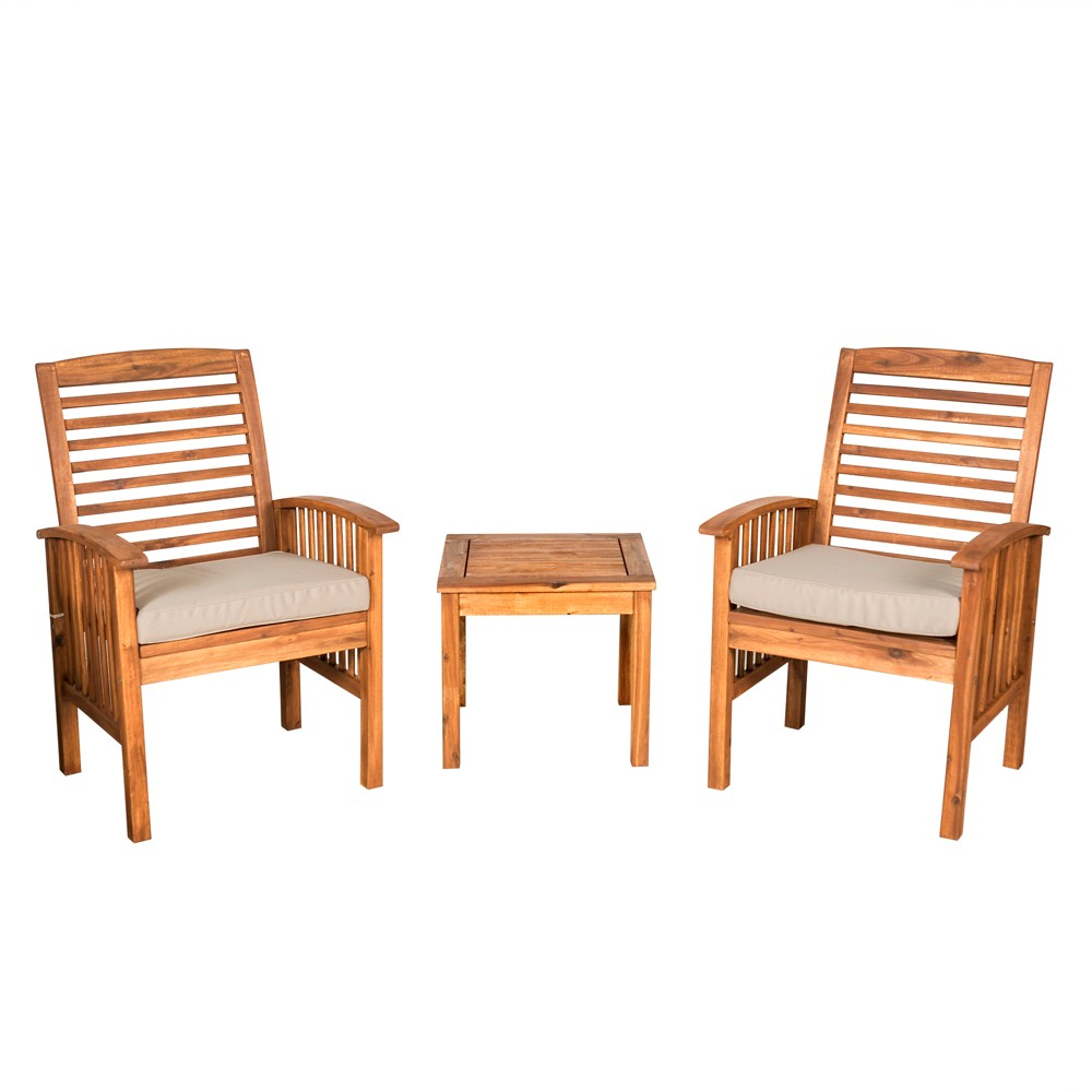 Image of 3pc Acacia Wood Patio Chairs and Side Table Brown - Saracina Home