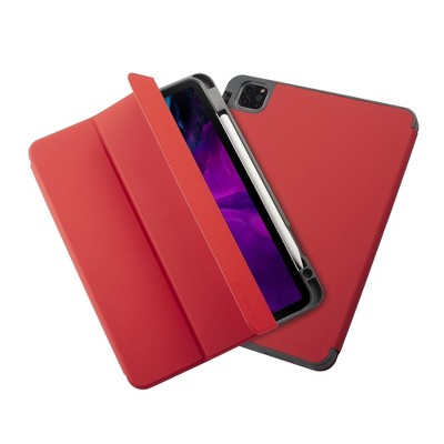 """Insten - Soft TPU Tablet Case For iPad Pro 11"""" 2020, Multifold Stand, Magnetic Cover Auto Sleep/Wake, Pencil Charging, Light Red"""