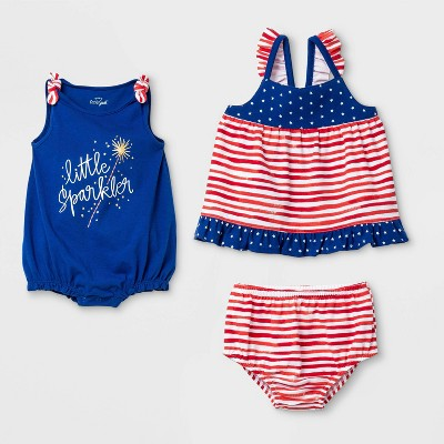 Baby Girls' 2pk Americana Romper & Dress Set - Cat & Jack™ Red 12M
