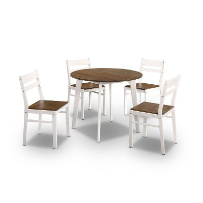 5pc Calla Ladder Back Round Dining Table Set Walnut/White - HOMES: Inside + Out