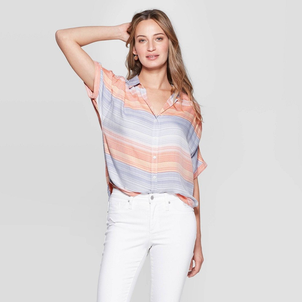a407f9f90f7c Womens Short Sleeve Collared Button Down Universal Thread Xxl Multi Colored