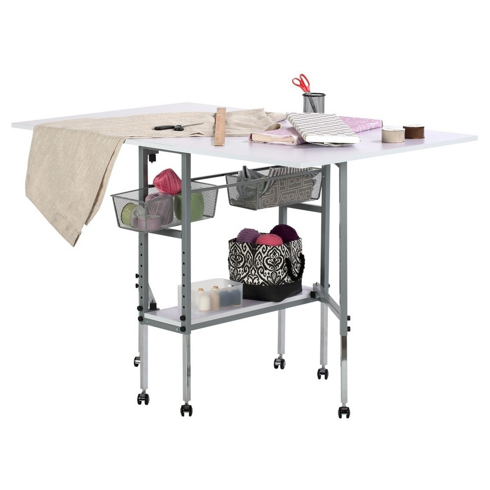Sew Ready Adjustable Height Hobby And Craft Table With Drawers Silver Studio Designs