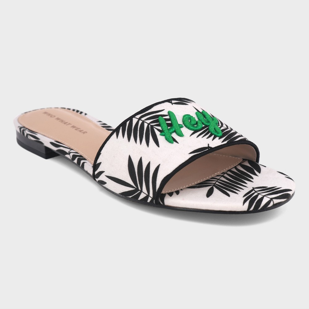 Women's Sloane Palm Slide Sandals - Who What Wear White 6.5