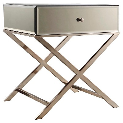 Whitney Mirrored Campaign Accent Table   Inspire Q