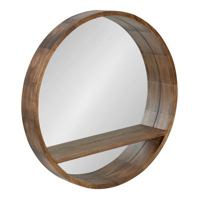 """30"""" Hutton Round Mirror with Shelf Rustic Brown - Kate and Laurel"""