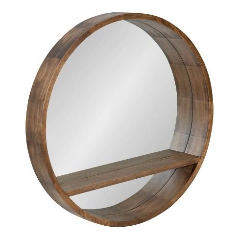 30 Hutton Round Mirror With Shelf, Round Mirror With A Shelf