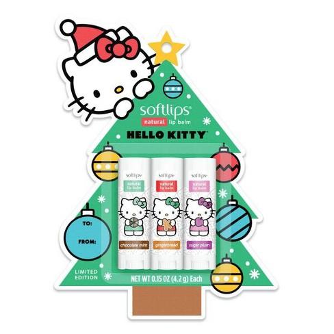 Softlips Hello Kitty Holiday Tree Lip Balm - Cinnamon, Chocolate, & Plumeria - 3ct - image 1 of 3