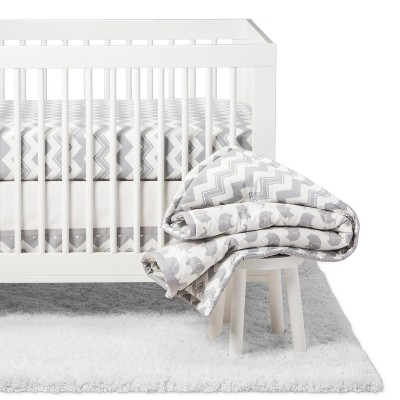 The Peanutshell Crib Bedding Set - Ellie Chevron - 5pc - Gray