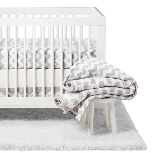 The Peanutshell Crib Bedding Set Ellie Chevron 5pc Gray
