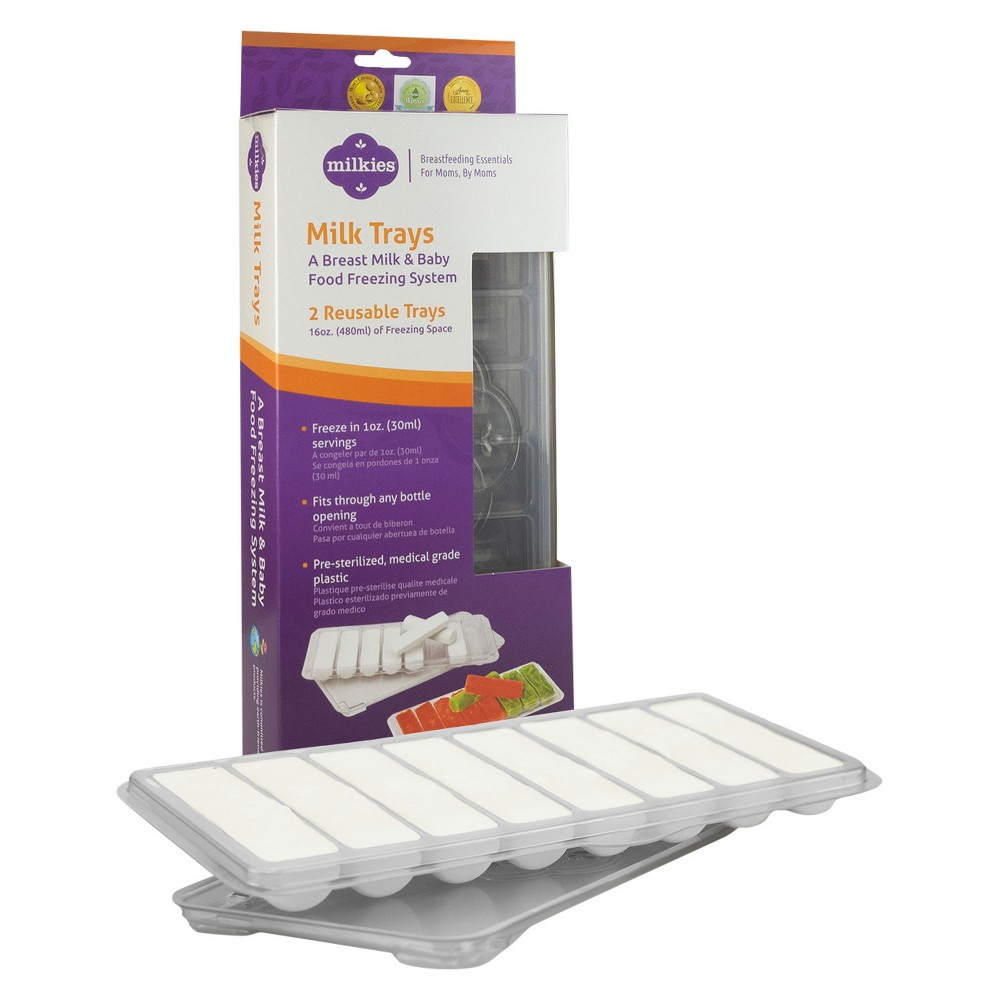 Image of Milkies Milk Trays for Breast Milk Storage, White