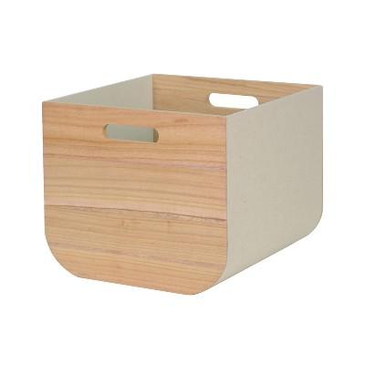 Large Paulownia Wood Bin with Fabric Sides Light Gray 11 x13  - Project 62™