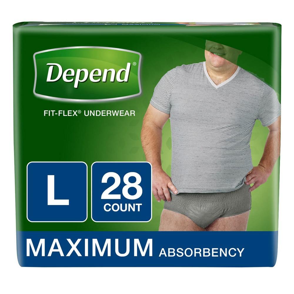 Depend Men's Fit-Flex Bulk Incontinence Underwear L - 28ct, Multicolored
