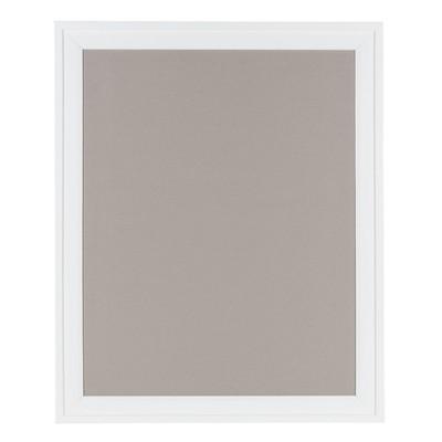 "24"" x 30"" Bosc Framed Gray Linen Fabric Pinboard White - DesignOvation"