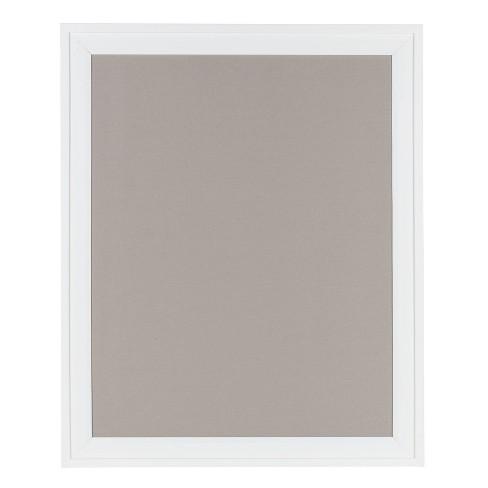 "24"" x 30"" Bosc Framed Gray Linen Fabric Pinboard White - DesignOvation - image 1 of 4"