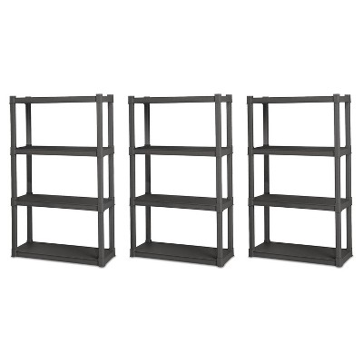 Sterilite Grey 4 Shelf Durable Plastic Garage Shelving Unit Organizer (3 Pack)