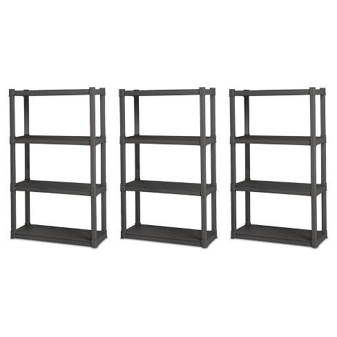 Sterilite Grey 4 Shelf Durable Plastic Garage Shelving Unit Organizer (3 Pack) - image 1 of 4