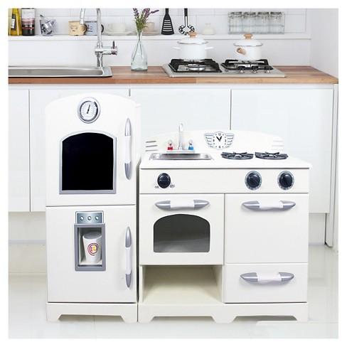 Teamson Kids Retro Wooden Play Kitchen White 2pc