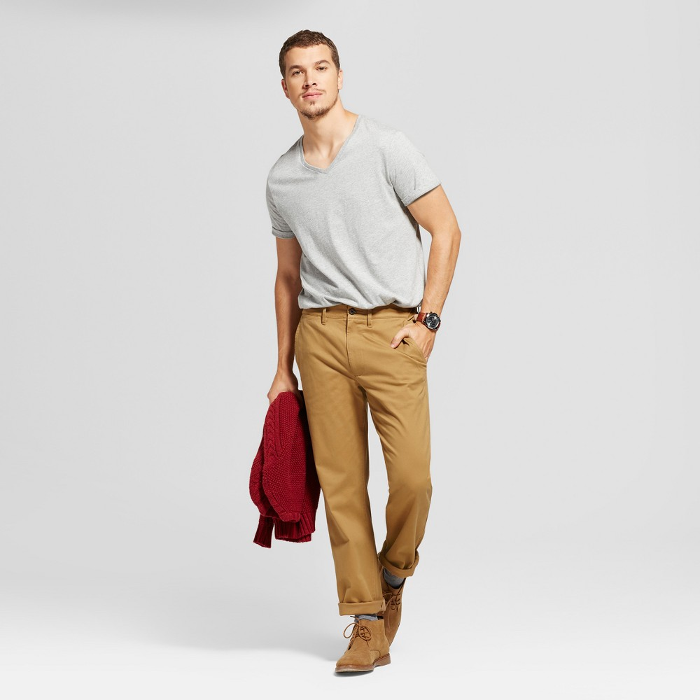 Men's Straight Fit Hennepin Chino Pants - Goodfellow & Co Light Brown 34X34