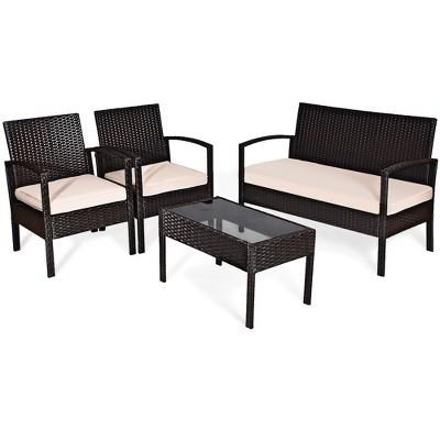 Costway 4PCS Patio Rattan Conversation Furniture Set Cushioned Seat Glass Table