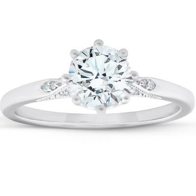 Pompeii3 1.05 Ct Diamond Engagement Ring Vintage Accent 14k White Gold 8 Prong