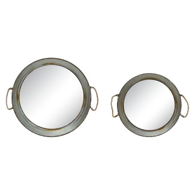 Round Metal Framed Mirrored Trays with Rope Handles Gray 2pk - 3R Studios
