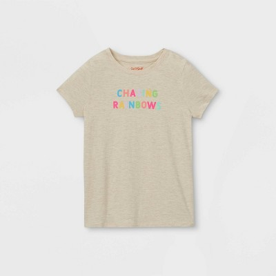 Girls' 'Chasing Rainbows' Graphic Short Sleeve T-Shirt - Cat & Jack™ Cream