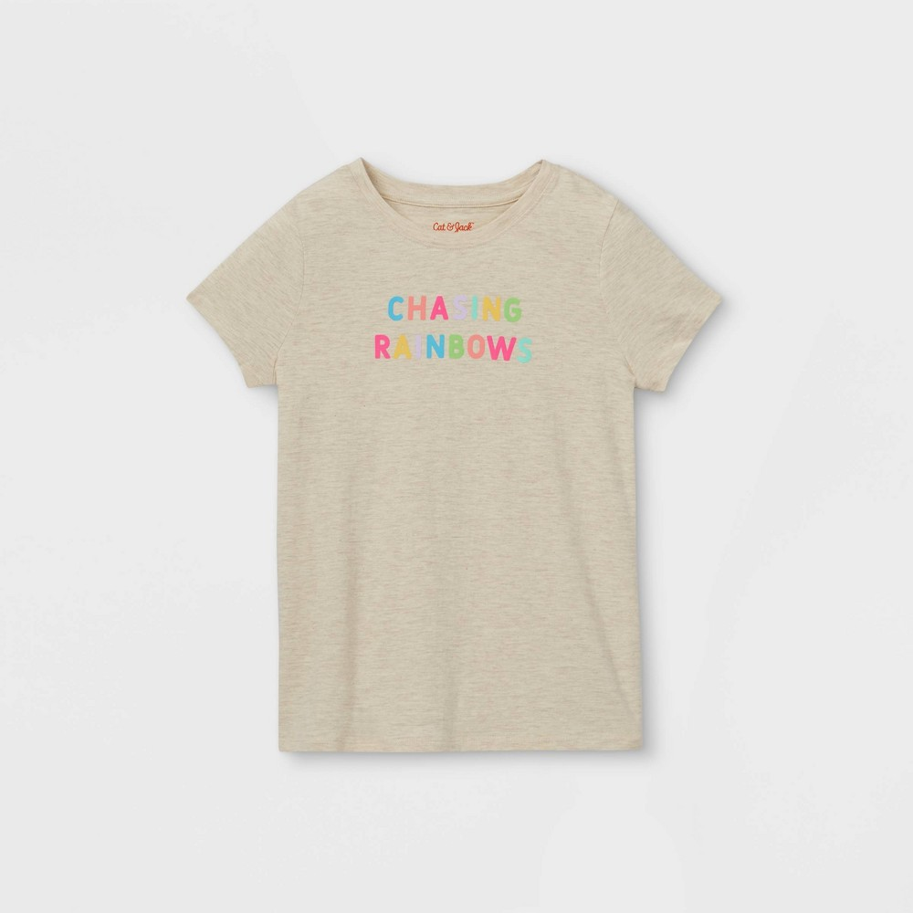 Girls 39 39 Chasing Rainbows 39 Graphic Short Sleeve T Shirt Cat 38 Jack 8482 Cream L