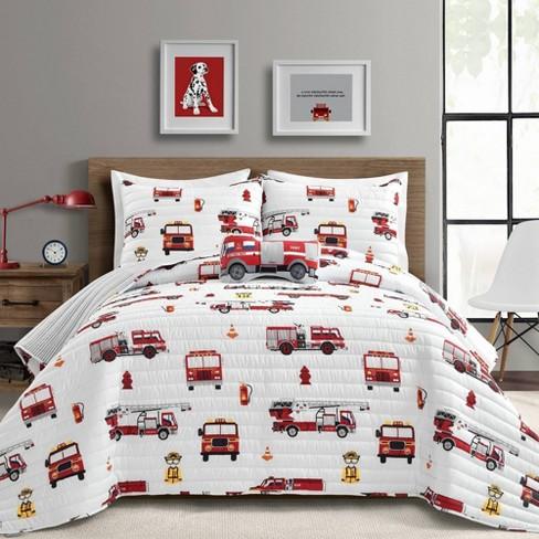 Wish Fire Truck Quilt Set White, Twin Fire Truck Bedding