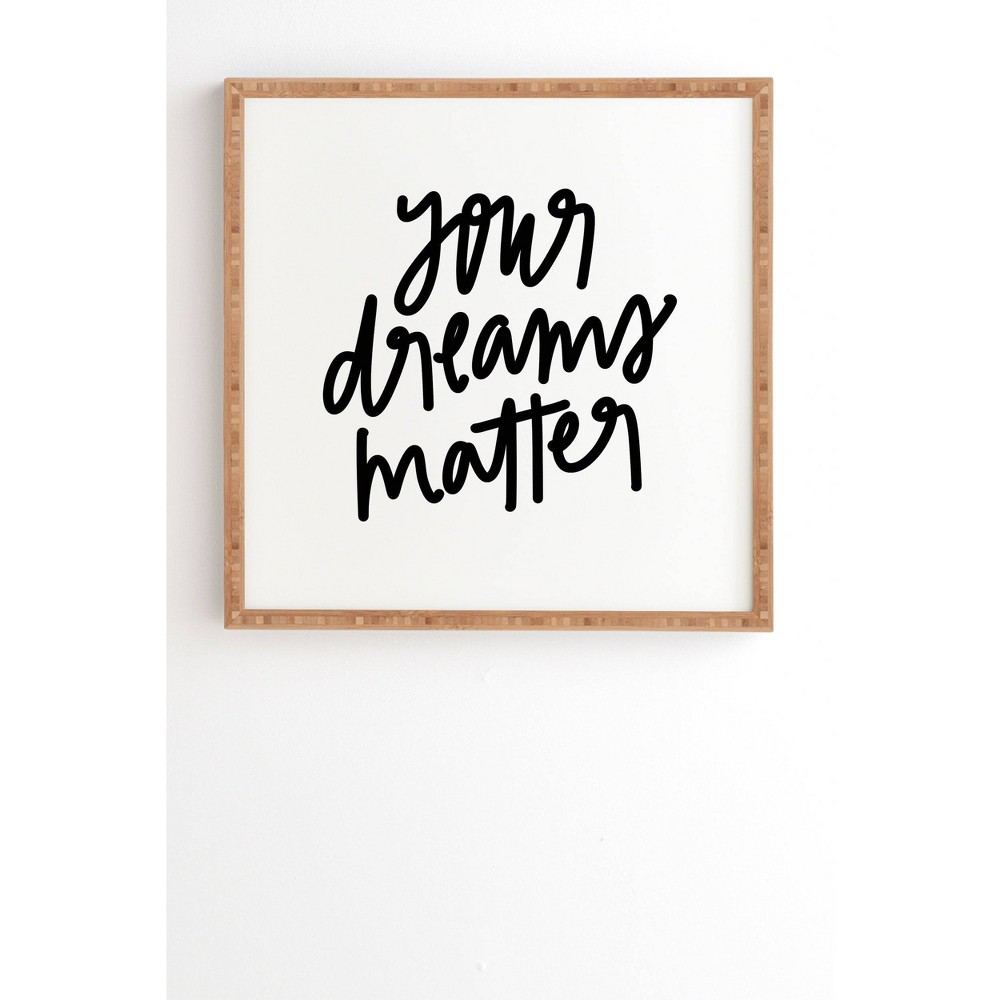"Image of ""12"""" x 12"""" Chelcey Tate 'Your Dreams Matter' Framed Wall Art Black - Deny Designs, Size: 12"""" x 12"""""""
