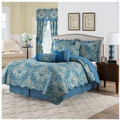 Blue Damask Reversible Moonlit Shadows Quilt Set - Waverly®