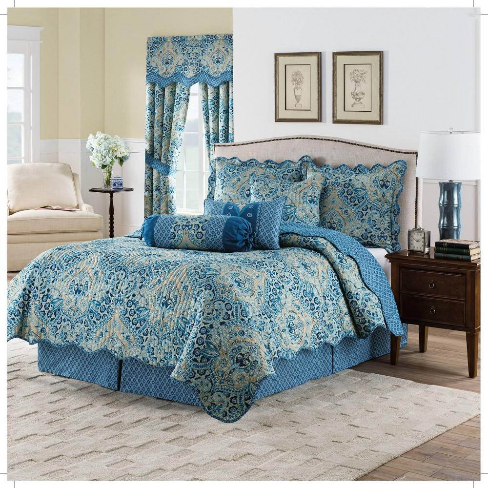 Blue Damask Moonlit Shadows Reversible Quilt Set King 4pc Waverly