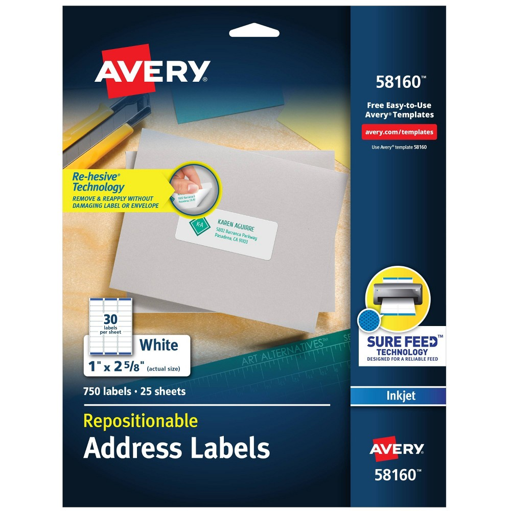 Image of Avery 1 x 2 5/8 Re-hesive Inkjet Labels- White (750 per Pack)