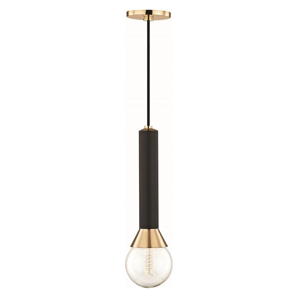 1pc Via Light Pendant Black/ Brass - Mitzi by Hudson Valley