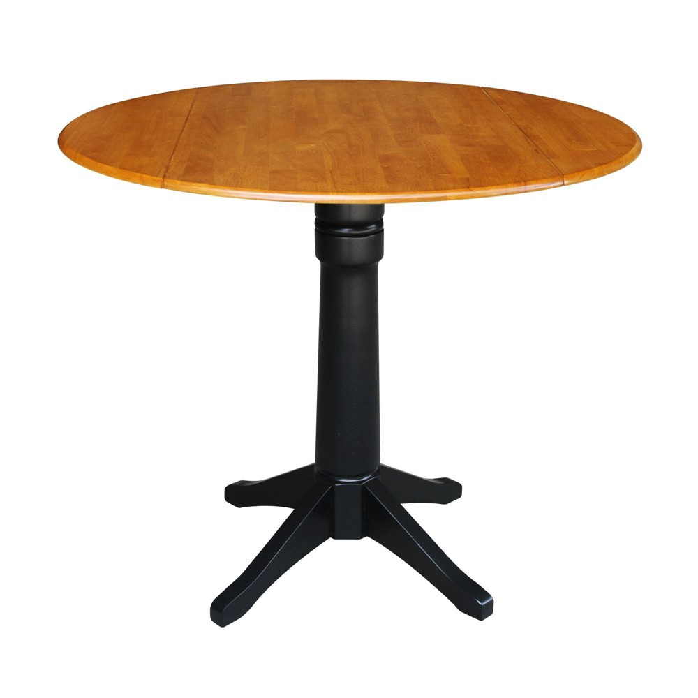 36.3 Raysen Round Dual Drop Leaf Pedestal Table Black/Cherry - International Concepts, Multicolored