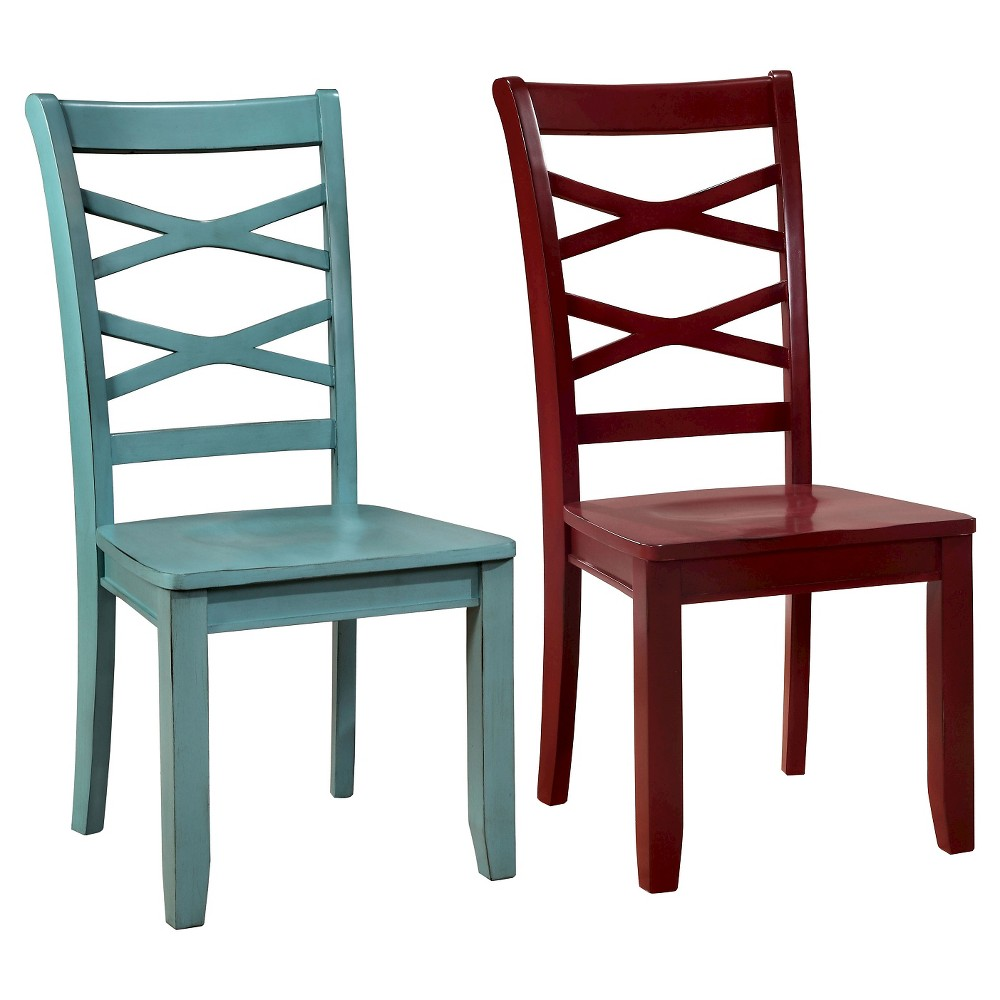 Set of 2 Emery Transitional Cross Back Side Dining Chair Red/Blue - Sun & Pine
