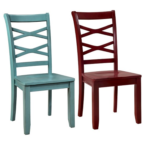 Sun Pine Emery Transitional Cross Back Side Dining Chair Red And Blue Set Of 2