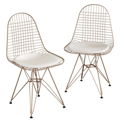 Set of 2 Eiffel Wire Chairs Gold - Buylateral