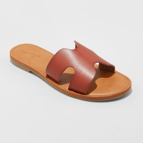 Women's Jenny Slide Sandals - Universal Thread™ Brown 9 - image 1 of 3