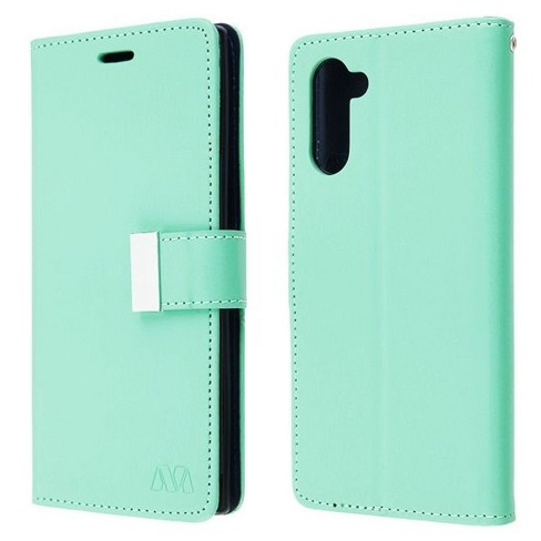 Insten MyJacket (Xtra Series) Flip Leather Fabric Cover Case w/stand/card slot For Samsung Galaxy Note 10 - Teal/Blue - image 1 of 4
