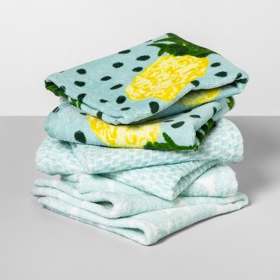 6pk Floral/Polka Dot Wash Pack Aqua - Opalhouse™