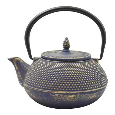 """Frieling """"Arare"""", Cast Iron Teapot, 40 fl. oz. , Blue/Gold"""