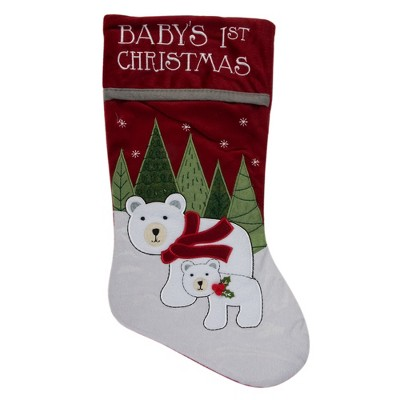 """Northlight 20"""" Red Baby's First Christmas Stocking with Polar Bears and Plush Red Cuff"""